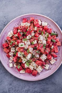 Sweet watermelon and salty feta create a refreshingly easy summer salad recipe topped with a lime-y basil oil vinaigrette, fresh herbs and spices to take it over the top! Easy Summer Salads, Summer Salad Recipes, Healthy Salad Recipes, Summer Savory, Potluck Recipes, Summer Fruit, Cucumber Watermelon Salad, Sweet Watermelon, Vinaigrette