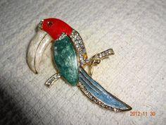 Vintage Toucan Parrot Gold Tone Rhinestone Enameled Brooch   SelectionsBySusan - Jewelry on ArtFire