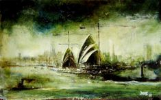 Opera House by Sir William Dobell 1969 Australian Painting, Australian Artists, Landscape Paintings, Landscapes, Aboriginal Dot Painting, Postmodern Art, Colonial Art, Pen And Wash, Nz Art