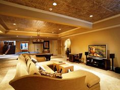 Some Best Basement Ceiling Ideas on a Budget - http://www.robinbad.com/2056-some-best-basement-ceiling-ideas-on-a-budget/ : #CeilingIdeas Improve the look and feel of your basement just with on a budget ceiling design. We have some best basement ceiling ideas on a budget to become your references. There are some cheap ways to finish a basement ceiling that unfinished. Especially in the basements with low ceiling design, you can...