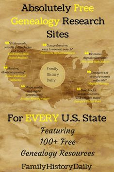 Absolutely Free Genealogy Research Sites for Every Single U. State Completely free genealogy research sites for every U. Featuring over 100 free family history resources to search today. Free Genealogy Records, Free Genealogy Sites, Genealogy Forms, Genealogy Chart, Family Genealogy, Ancestry Websites, Genealogy Humor, Family Tree Research, Genealogy Organization