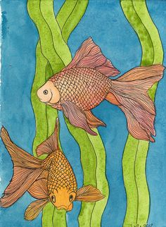 goldfish ink and watercolour
