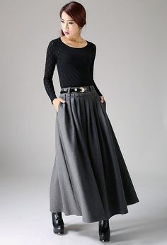 Dunkel graue Wollrock - Frauen Maxi Rock - A plissierten Leinen Skirt - Kreis Skirt - Custom-made-Skirt - Rock in voller Länge (1094)
