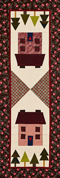 Christmas Cottage Color Option by Laura Boehnke. Fabrics are from the Gathering Basket collection by Kim Diehl and Cozy Yarn Dye Flannels, both from @henryglassco.