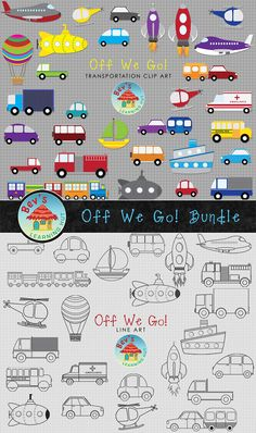 Transportation Clipart Bundle - Off We Go!  This clip art package contains 54 high-quality transportation graphics for personal and commercial use. Perfect for transportation themed resources.