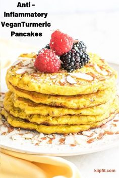 Anti-Inflammatory Turmeric Pancakes are soft, fluffy, easy and delicious breakfast option with earthy flavors. It's a great post-partum food. These pancakes are great for lactating moms as well | V + GF | kiipfit.com Vegan Breakfast Recipes, Delicious Vegan Recipes, Healthy Dessert Recipes, Yummy Food, Healthy Breakfasts, Almond Flour Recipes, Vegan Pancakes, Post Partum, Easy Appetizer Recipes
