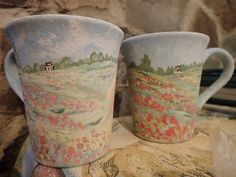 Hand painted ceramics by Pam Smith : Hand painted mugs. Hand Painted Mugs, Hand Painted Ceramics, Will Smith, Pottery, Hands, Painting, Hand Painted Pottery, Ceramica, Painting Art