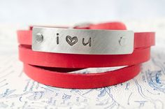 i heart u   Adjustable Leather Wrap Bracelet by Cjohannesen, $27.00