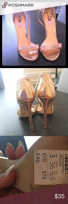 TopShop open toe heels Beautiful rose gold Topshop high heels in excellent condition Topshop Shoes Heels