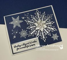 Best 12 Heat Embossed and Foil Snowflakes Card video tutorial! This handmade card has the merriest and shiniest snowflakes! Great Christmas card or general greeting card or note card for the winter season. Homemade Christmas Cards, Christmas Cards To Make, Xmas Cards, Holiday Cards, Christmas Diy, Greeting Cards, Christmas Projects, Christmas Snowflakes, Christmas 2019