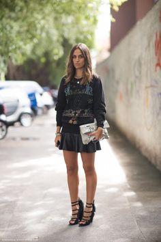 Sweat + Leather Skirt