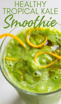 If you love tropical drinks for breakfast, this quick and easy tropical green detox smoothie will be your new favorite. With wholesome kale, ginger, coconut milk, banana, orange and pineapple this easy green smoothie recipe is lightly sweet, but healthy and refreshing. Perfect for breakfasts, afternoon snacks or as a pick me up after a big workout. Nutritious Breakfast, Breakfast Smoothies, Healthy Breakfast Recipes, Snack Recipes, Easy Healthy Smoothie Recipes, Delicious Recipes, Yummy Food, Hawaiian Bbq, Green Detox Smoothie