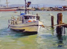 Lifegaurd Boat, Aquatic Park, SF by Brian Blood Oil ~ 9 x 12