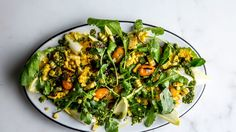 Yellow pepper & corn salad with turmeric dressing. The pepper skins add smokiness to this corn salad, so don't peel them. Bonus: That makes life a lot easier. Summer Vegetarian Recipes, Summer Salad Recipes, Vegan Recipes, Turmeric Recipes, Herb Recipes, Vegetable Recipes, Corn Salads, Rabbit Food, Dressing Recipe