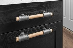 Rustic Industrial Wood & Black Iron Pipe Drawer Pull for upgrading your Kitchen, Bath, Dresser, Office, Restaurant and more. Dresser Handles, Cabinet Handles, Door Handles, Door Knobs, Pipe Furniture, Industrial Furniture, Rustic Furniture, Bathroom Furniture, Furniture Ideas