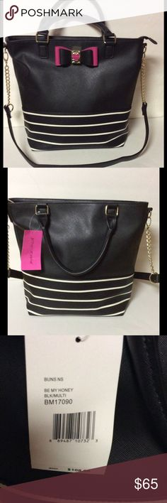 "Betsey Johnson Be My Honey Tote NWT Betsey Johnson Be My Honey Tote. 2 inside slip pocket, 1 inside zipper pocket. Black/White with a tad of Fuchsia, Gold-tone hardware. Dual handles, removable straps. 12.5"" x 11.5"" x 5"" NWT,.... No Trades No Holds Betsey Johnson Bags Totes"