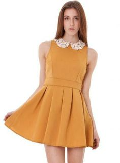 Orange Pleated Flare Dress with White Lace Collar,  Dress, orange flare lace collar pleated, Chic