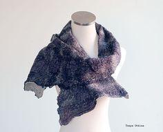 Dark blue purple felted scarf wool silk wide by CityCrochet