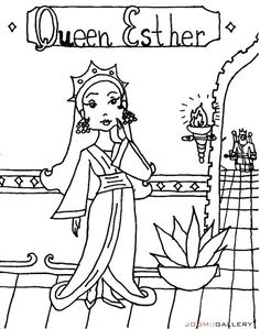 Queen Esther Saves The Day Bible Coloring Page For Kids To