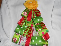 Christmas tree ribbon shirt/ Children's christmas shirts/ baby christmas shirt/ children's clothing. $18.00, via Etsy.