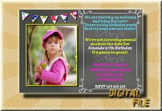 Photo Invitation Birthday Invitation Girl by DigitalitemsShop