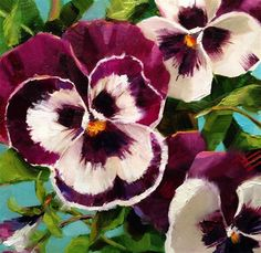 """Daily Paintworks - """"Pansies on Turquoise"""" - Original Fine Art for Sale - © Krista Eaton"""
