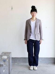 Old tailored jacket Ⅱ (+tax)  . Japan Fashion, Work Fashion, Fashion Design, Comfortable Outfits, Casual Outfits, Unisex Fashion, Womens Fashion, Engineered Garments, Japanese Street Fashion