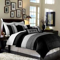 "8 Pc Luxury Super Set Black / White / Grey Faux Silk Comforter (104""x92"") Set / Bed-in-a-bag King Size Bedding"