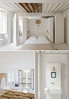 Paint Ceiling Beams Black To Give A White Ceiling A Modern . Home and Family White Ceiling, Ceiling Beams, Casa Petra, Interior And Exterior, Interior Design, Modern Interior, Exposed Beams, White Houses, Home Bedroom