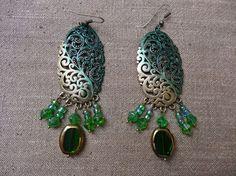 Boucles longues orientales ethniques bohème vert par MesOdalisques