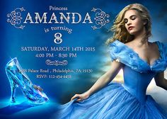 PERSONALIZED Cinderella Birthday Invite Card Format File: PDF and JPEG (high resolution, 300 dpi)  Card Size: 5 x 7 inches ( or 4 x 6 please ask)