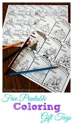 Have a blast coloring these adorable Free Printable Coloring Gift Tags! Or wrap them around some coloring supplies for a fabulous and simple gift! Free Printable Christmas Gift Tags, Free Printable Gift Tags, Holiday Gift Tags, Diy Christmas Gifts, Holiday Crafts, Free Printables, Christmas Ideas, Christmas Decorations, Diy Crafts For Gifts