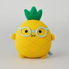 Riceananas is a geeky pineapple who has a yellow body, leafy green hair, and a pair of bright blue glasses. Diy Plush Toys, Pineapple Drawing, Funky Cushions, Kawaii Crochet, Cute Stuffed Animals, Cute Pillows, Cute Plush, Lol Dolls, Fun Crafts For Kids
