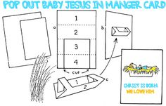How to Make Pop Out Card of Baby Jesus Laying in Manger Cradle