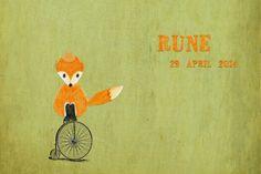 Geboortekaartje Rune - voorkant - Pimpelpluis - https://www.facebook.com/pages/Pimpelpluis/188675421305550?ref=hl (# vintage - vos - vosje - fiets - tekening - handgetekend - retro - oranje - groen - hoed - origineel)