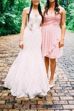 David's Bridal Ballet F14847 Short Crinkle Chiffon Dress With Front Cascade Dress