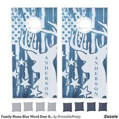 Family Name Blue Wood Deer Buck American Flag Cornhole Set Custom Cornhole Boards, Cornhole Set, Cross Beam, Blue Wood, Epic Games, School Colors, American Flag, Board Games, Deer