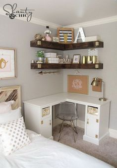Beautiful Teenage Girls' Bedroom Designs Add more storage to your small space with some DIY floating corner shelves!Add more storage to your small space with some DIY floating corner shelves! Floating Corner Shelves, Corner Shelf, Corner Shelving, Floating Desk, Corner Vanity, Corner Storage, Floating Shelves Bedroom, Floating Cabinets, Glass Shelves