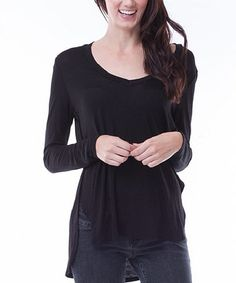 Black High-Low Long-Sleeve Top by Elegant Apparel #zulily #zulilyfinds