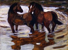 franz marc(1880-1916), two horses at a watering place, 1910. tempera, heightened with gold on cardboard, 34.5 x 46 cm. private collection http://www.the-athenaeum.org/art/detail.php?ID=63259