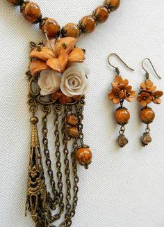 Vintage style jewelry  Handmade jewelry  Metallic by insoujewelry, $62.00