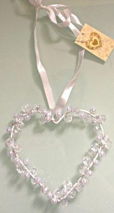 Decorative Crystal & Pearl Love Wedding Valentines Hanging Heart, Silk Ribbon | eBay
