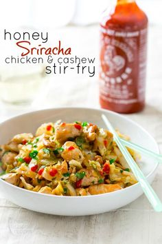 Honey Sriracha Chicken and Cashew Stir-fry recipe! I love stir fry & Sriracha so this is one I MUST try!