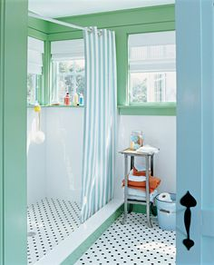 Paint Colors (by Benjamin Moore)    Walls: White Wisp 2137-70  Trim: Aurora Borealis 565  Sash and Doors: Waterfall 2050-50