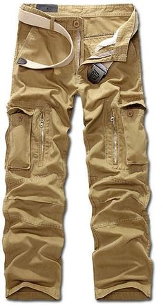 Men Military Print Pants, Multi Pocket Cargo Trousers