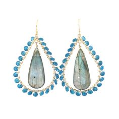 Cait Earrings in Labradorite and London Blue | Emily Elaine Designs