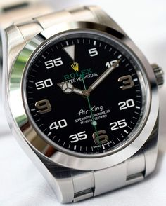 The latest Rolex sports watch is odd but lovable, and unusually affordable. Say hello to the Air-King ref. Original photos and pricing below. Unusual Watches, Amazing Watches, Beautiful Watches, Cool Watches, Rolex Watches, Wrist Watches, Stylish Watches, Luxury Watches For Men, Vintage Military Watches