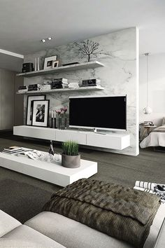 Interior design ideas for a luxury living room decor. On this living room you can see extraordinary furniture design pieces. Living Room Modern, Home Living Room, Apartment Living, Living Room Designs, Living Room Decor, Living Spaces, Modern Bedrooms, Bedroom Decor, Small Living