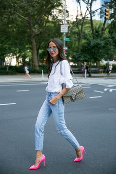 Back in the city shooting some looks today! Paired my favorite levi's with a bright pump and my new favorite white tee. It's a white tee with a twist (bow sleeves). Any touch of girlyness is right up my alley. Everyone constantly asks me about these jeans and I swear they are the most incredible … Continued