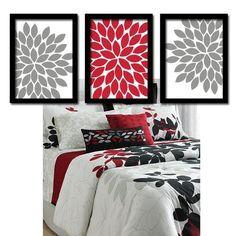 Wall Art Canvas Artwork Red Black Gray Flower Burst By Trmdesign 29 00